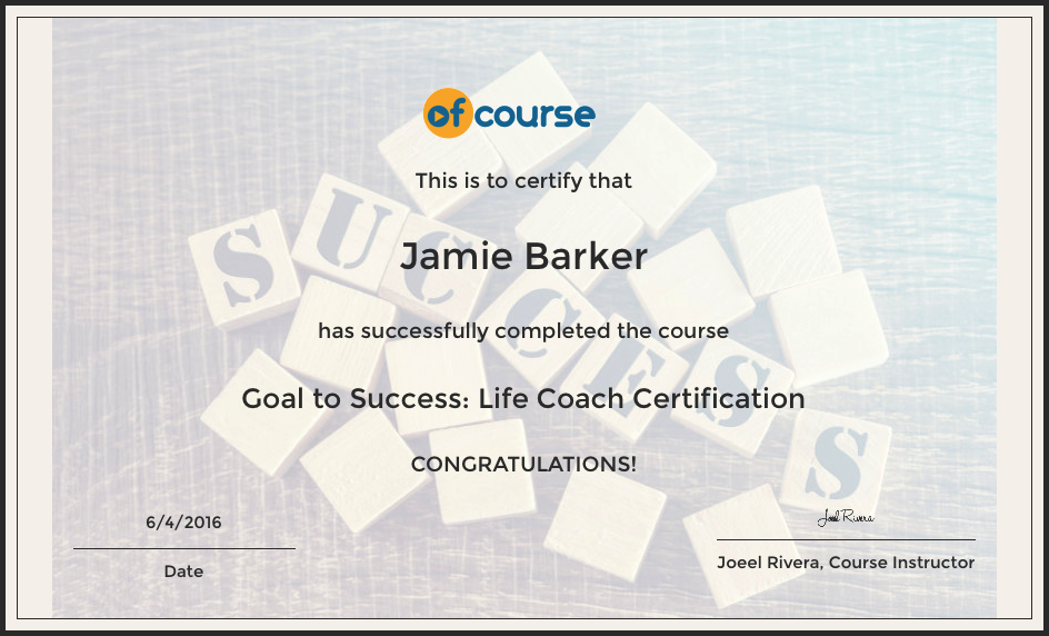 Goal To Success Life Coach Certification Course Reed