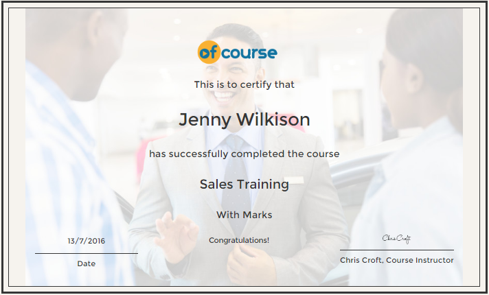 SAles training cert